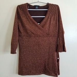89th and Madison copper Shimmer Blouse